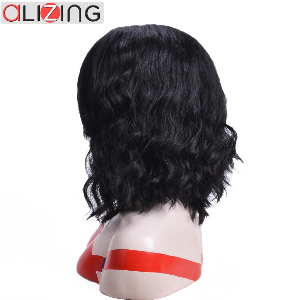 Alizing Synthetic Lace Front Wigs Heat Resistant Fiber Side Part Water Wave Medium Hair Cosplay For Black White Women