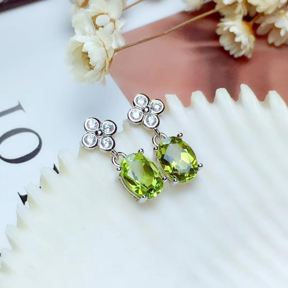 fashion natural green peridot gemstone stud earrings women silver natural olivine 925 sterling silver certificate Christmas gift