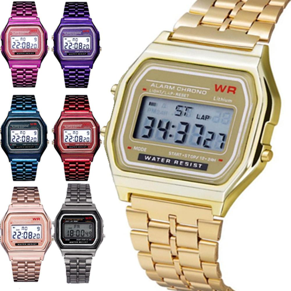 Quartz-Watch Digital Gold Female Sport Waterproof Women Fashion LED Thanksgiving title=