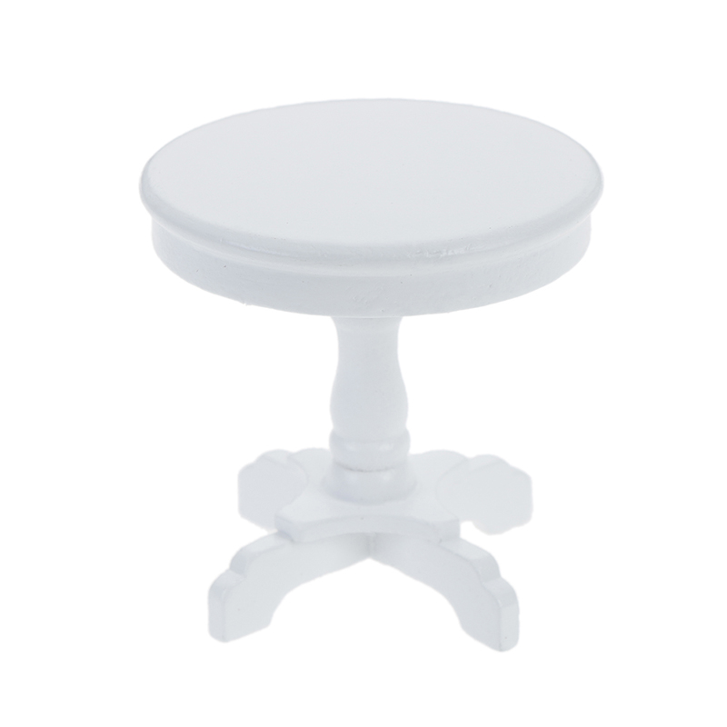 Dollhouse Miniature Furniture White Round Table Model For 1//12 scale Coffee BIN