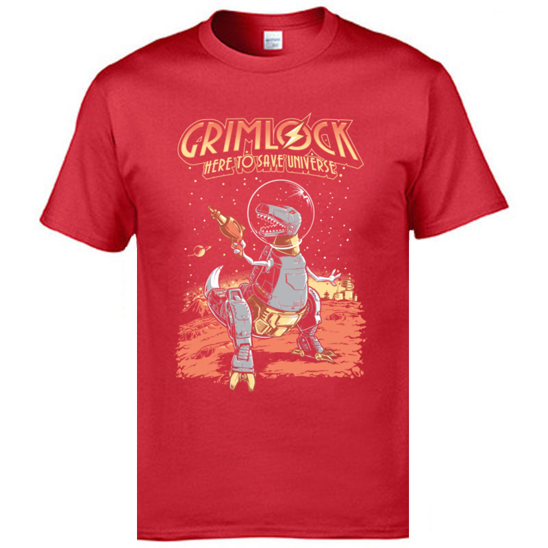 Brand New Young T Shirt Space_Pulp_Robot_Dinosaur_Hero__6528 Tops & Tees 100% Cotton Fabric Round Neck T Shirt Personalized Space_Pulp_Robot_Dinosaur_Hero__6528 red