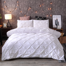Bedding-Set Pillowcases Bed-Covers Queen White Luxury Solid-Color with Grey 3pcs Pleat-Art