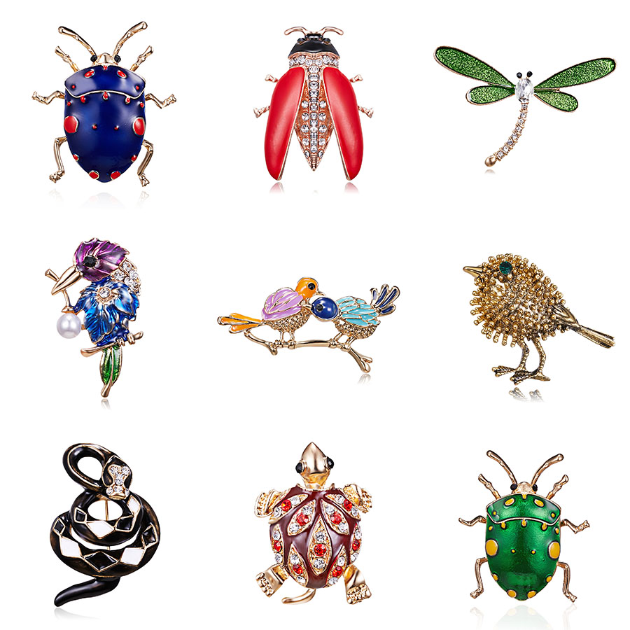 12pcs Rouge Noir Émail Honeybee Lady Bug Tortue Strass Broche Pin Badge