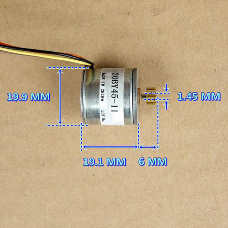 20BY45 Micro 20mm 2-phase 4-wire Precision Stepper Motor 18 Deg 14T Copper Gear