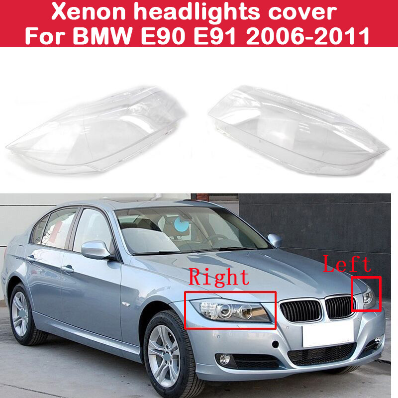 KKmoon Left Headlight Clear Cover Right Side Headlamp Lense Front Headlamp Lens Replacemnt for BMW 3Series E90 E91 2005-2008