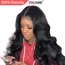 Wigs Human-Hair Lace-Front Body-Wave Pre-Plucked Baby 360-Lace Women Brazilian 250%Density