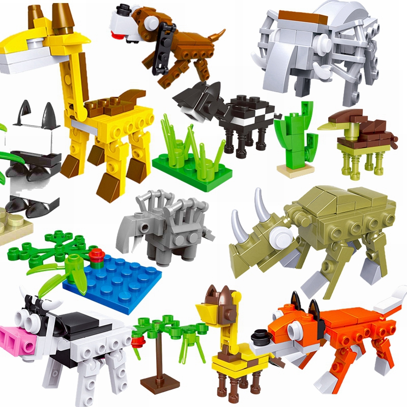 Minecrafted Animals Giraffe Crocodile Tiger Animal Cow Cattle Horse Shark Building Blocks Sets Models Brick Kits Toys Minecrafte