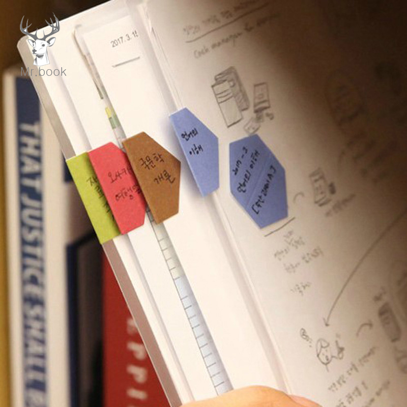 48pcs/2 Sheet Candy Color Index Sticky Notes Notebook Planner Accessories Tool Index Sticky Sticker Message Notes Scratch Pad