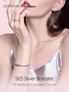 Женский браслет-цепочка ATHENAIE, из стерлингового серебра 925 пробы с цепочкой в виде змеи, Подходит для европейских ювелирных изделий
