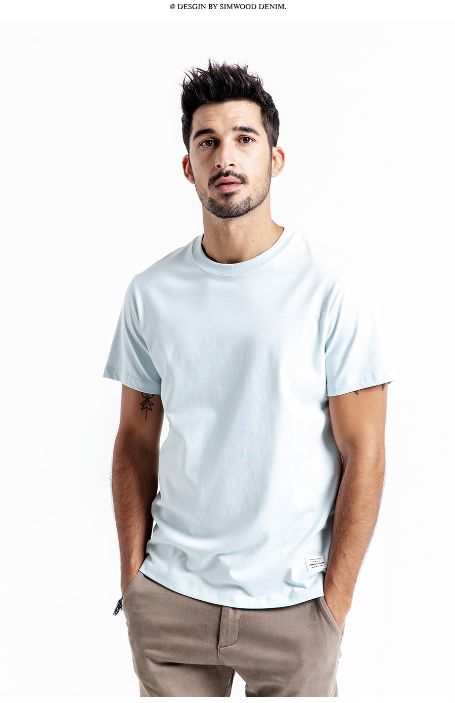 SIMWOOD 19 Summer New T-Shirt Men 100% Cotton Solid Color Casual t shirt Basics O-neck High Quality Plus Size Male Tee 190004 18