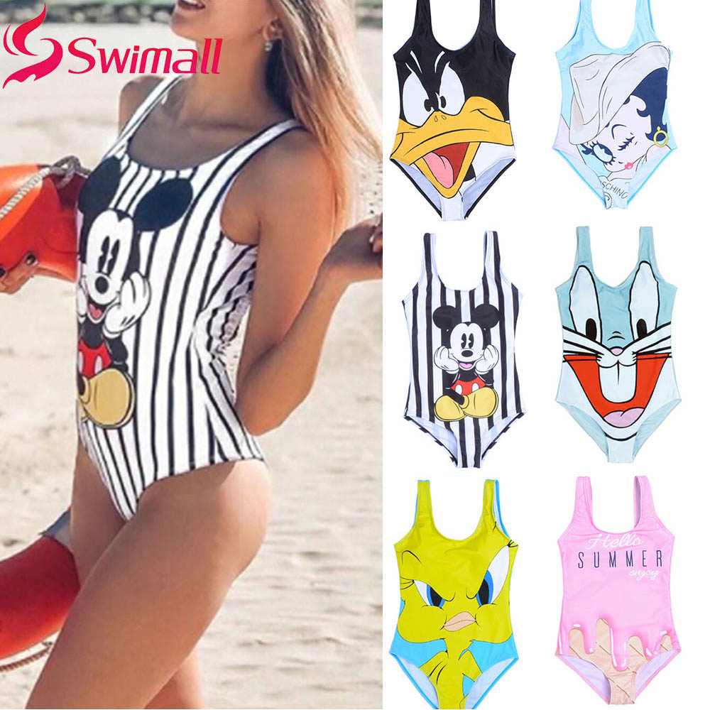 2019 New  Women One Piece Swimsuit 3D Print cartoon Strap Backless Swimsuit Bathing Suit Summer Beachwear Monokini Swimsuit