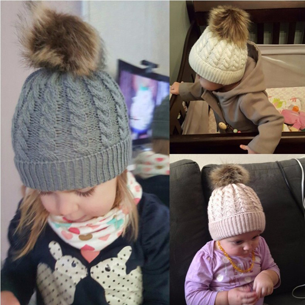 autumn winter warm baby twist wool cap  Pompom Beanies Hats Soft Newborn baby knitted wool ball hat children ear caps