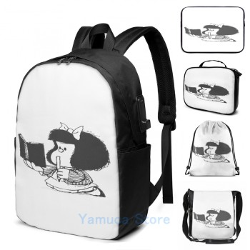 Funny Graphic print Mafalda USB Charge Backpack men School bags Women bag Travel laptop bag