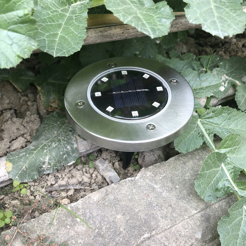 Solar Powered Ground Light Waterproof Garden Pathway Deck Lights With 8 LEDs Solar Light Cold/Warm White LED Lawn Lamp