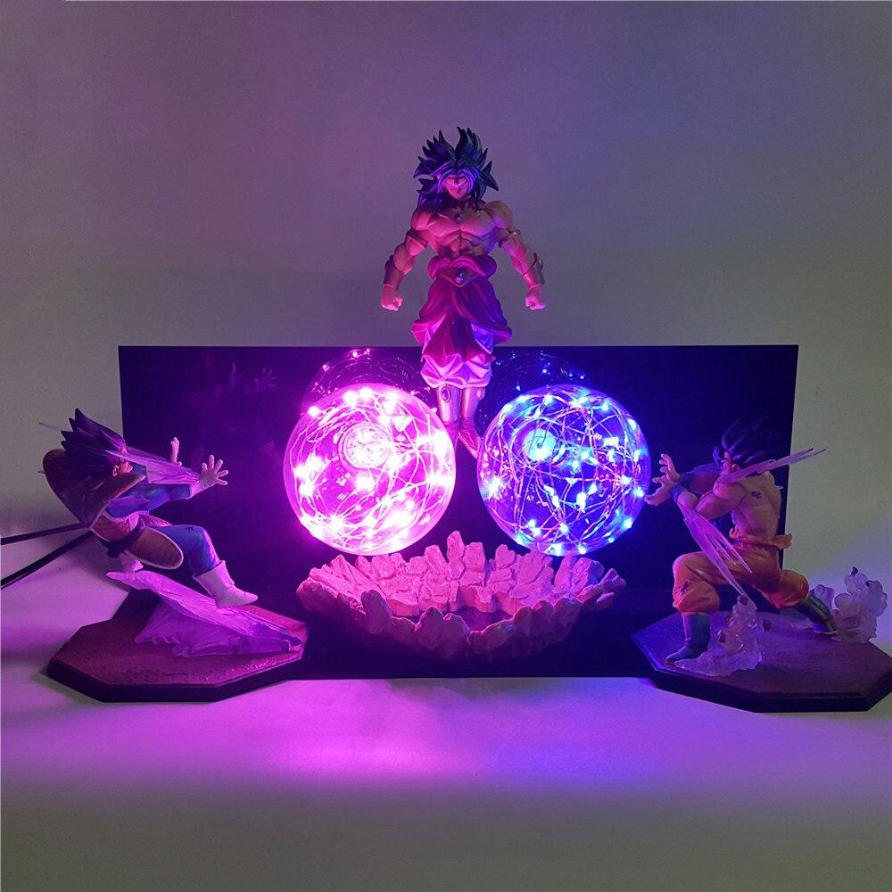 Dragon Ball Z Vegeta Goku VS Broly Action Anime Figures Night Lights 3D Son Goku Figurine Super Saiyan DIY Set Lamp Juguetes Toy