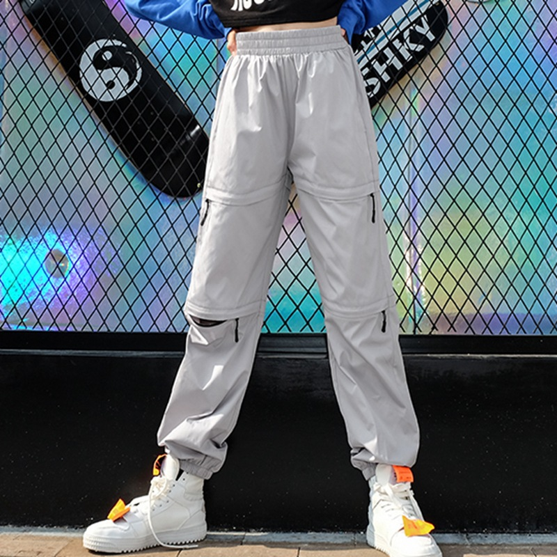 2019 Spring and Summer Harem Pants Woman Zipper Holes Harajuku Sweatpants High Waist Elastic Waist Trousters