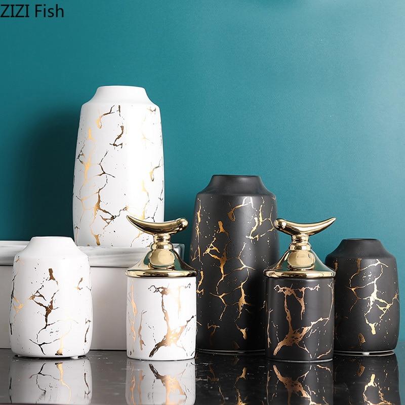 Dollhouse Miniature Living Room A Black Porcelain Vase Pot Width 3.5cm SPO660