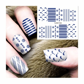 YZWLE 1 Sheet Water Transfer Nail Art Stickers Naval Style Designs Decals For Nails Tips Decoration DIY Nail Art Accessories 150