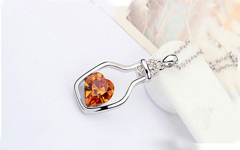New Fashion Ladies Jewelry Necklace Charm Silver Popular Crystal Vintage Trendy Elegant Retro Love Drift Bottles Accessories