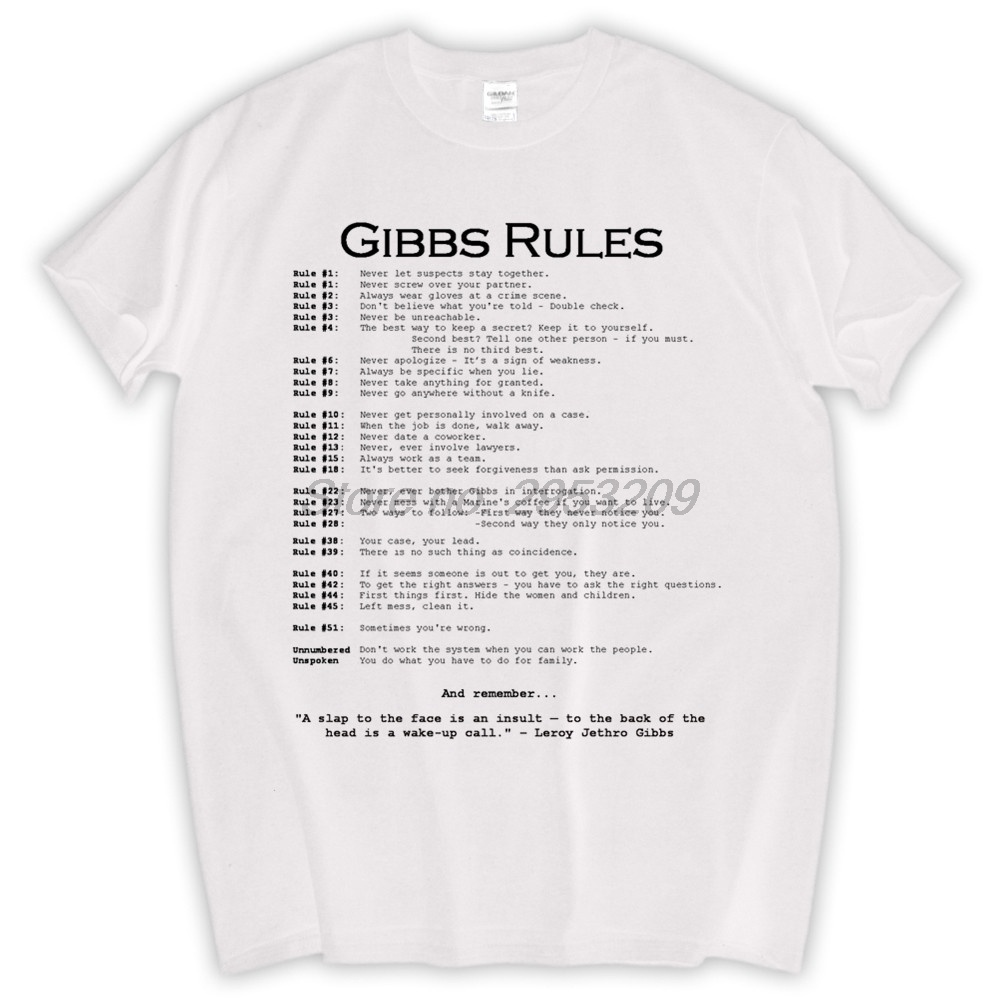 NCIS TV Show GIBBS/' RULES Licensed Adult Long Sleeve T-Shirt S-3XL
