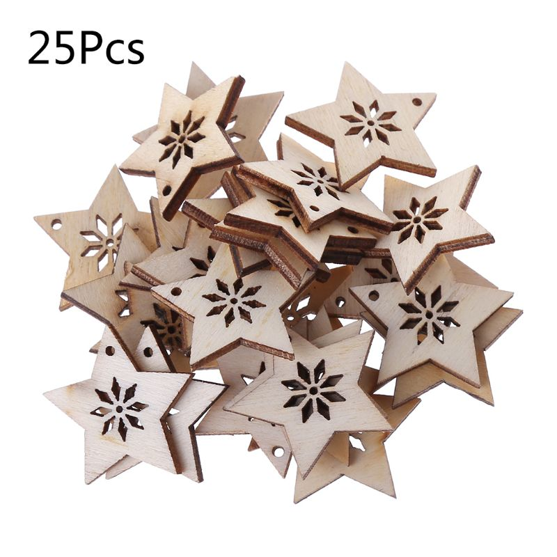 25pcs Unfinished Wooden Shape Stars Hanging Wood Embellishment for Art Craft