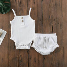 CANIS 2PCS Newborn Baby Girl Summer Clothes Solid Color Button Knitted Vest Crop Tops Shorts Pants Outfit(China)