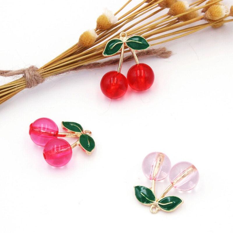 10pcs 28mm Fashion Enamel Cherry Charms Metal Fruit Crystal Cherry Pendants Dangle For Earrings Jewelry Making DIY Jewelry