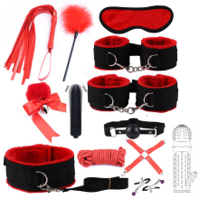 Nylon BDSM Sex Bondage Set Handcuffs Nipple Clamps Collar Gag Whip Rope Tail Anal plug