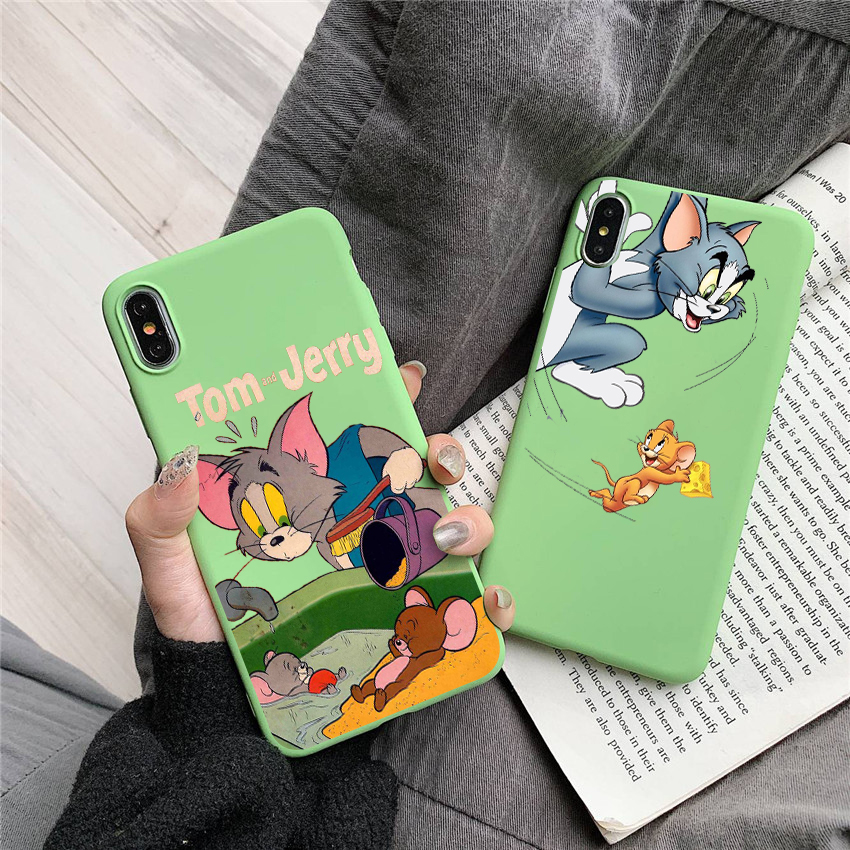 Funny Cartoon Tom and Jerry Candy Color TPU Case phone For iphoneX 7 8 XS XR XSMAX CASE Cover