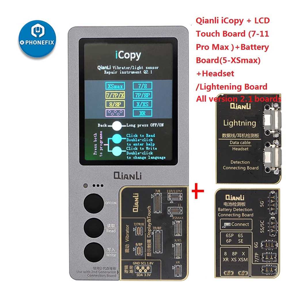 QIANLI iCopy Plus with Battery Board for iPhone 7 8 X XR XS MAX 11 Pro Max LCD/Vibrator Transfer Display/Touch EPROM Repair