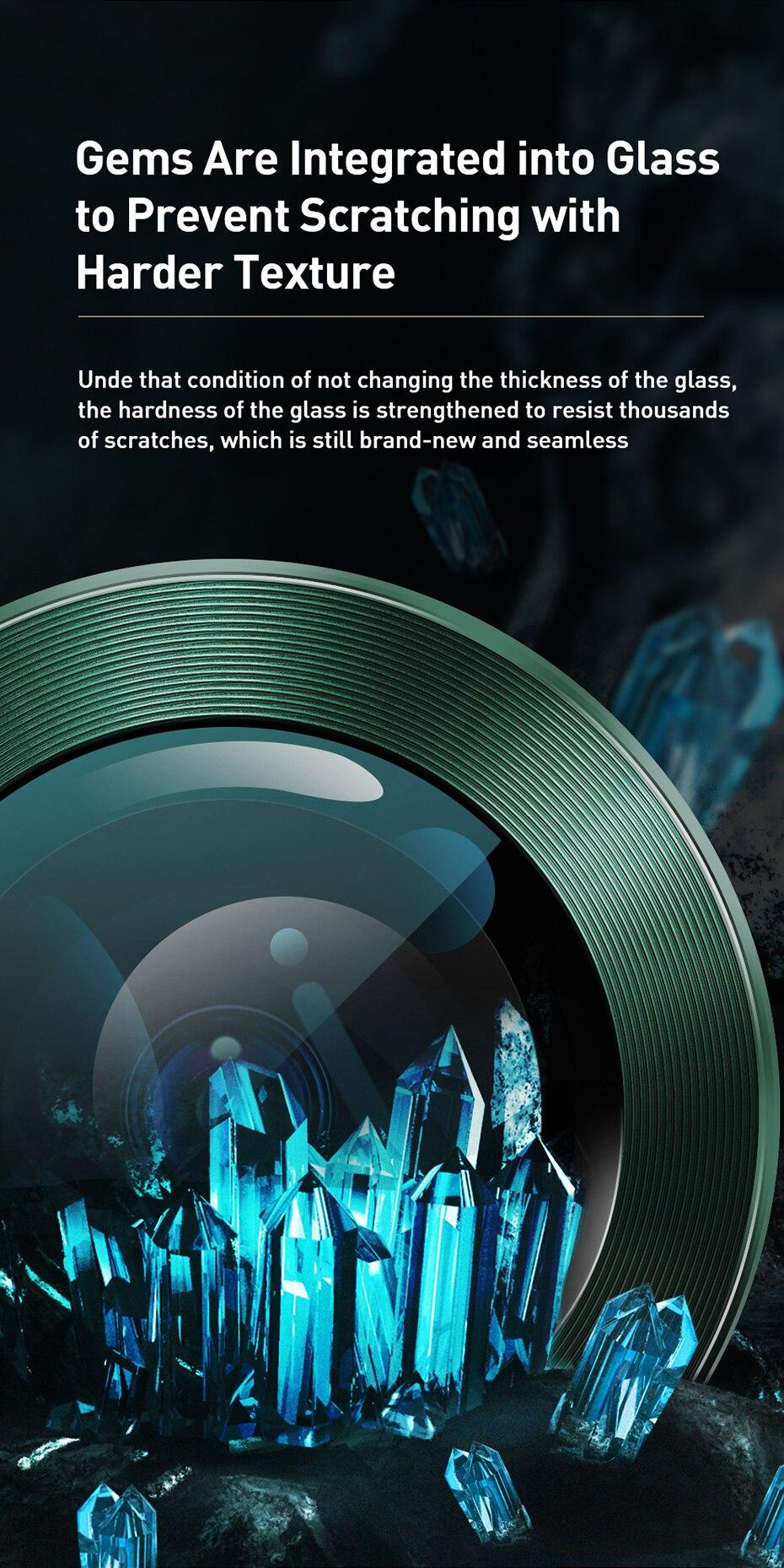 Bộ ốp viền kim loại tích hợp cường lực chống trầy Camera cho iPhone 11 - 11 Pro - 11 Pro Max - iPhone 12 - 12 Mini - 12 Pro hiệu Baseus Alloy Protection Ring Lens Film