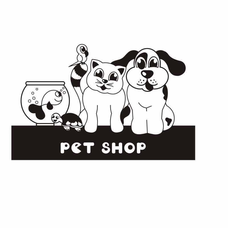 DCTAL Dog Grooming Salon Pet Shop Sticker Decal Muurstickers Posters Vinyl Wall Art Decals Parede Decor Mural Pet Shop Sticker