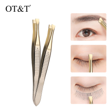 OT&T Eyebrow Tweezers Professional Stainless Steel Eyebrow Hair Removal Tweezer Flat Slant Tip Convenient Facial Makeup Tools