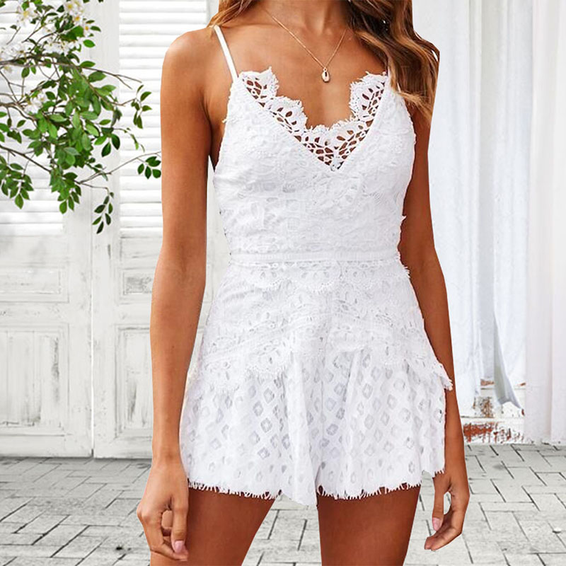 Deep V Neck Sexy Lace Patchwork Split Bodycon Hollow out Jumpsuit Solid Color Rompers