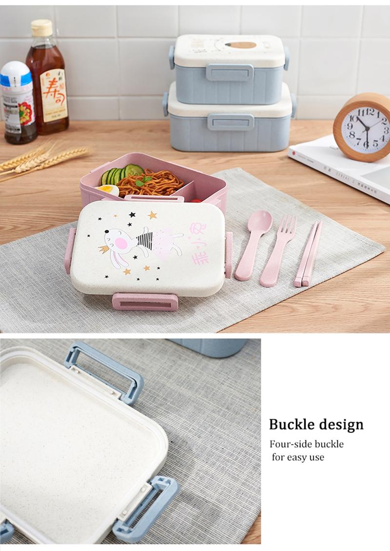 TUUTH Cute Cartoon Lunch Box Microwave Dinnerware Food Storage Container Children Kids School Office Portable Bento Box B3