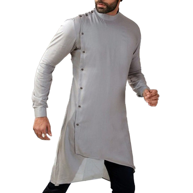 Medieval Tops Mens Shirt Tunic Long Sleeve Robe Grown Medieval Renaissance Male Stage Costumes