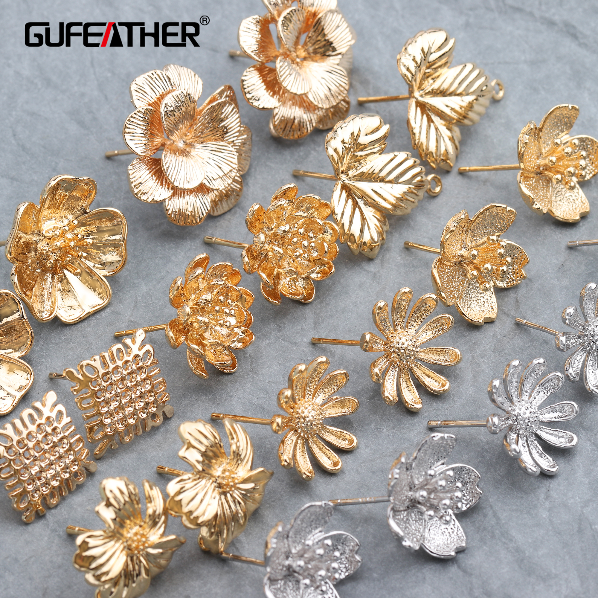 GUFEATHER M600,jewelry accessories,18k gold plated,0.3 microns,rhodium plated,stud earring,diy earring,jewelry making,10pcs/lot