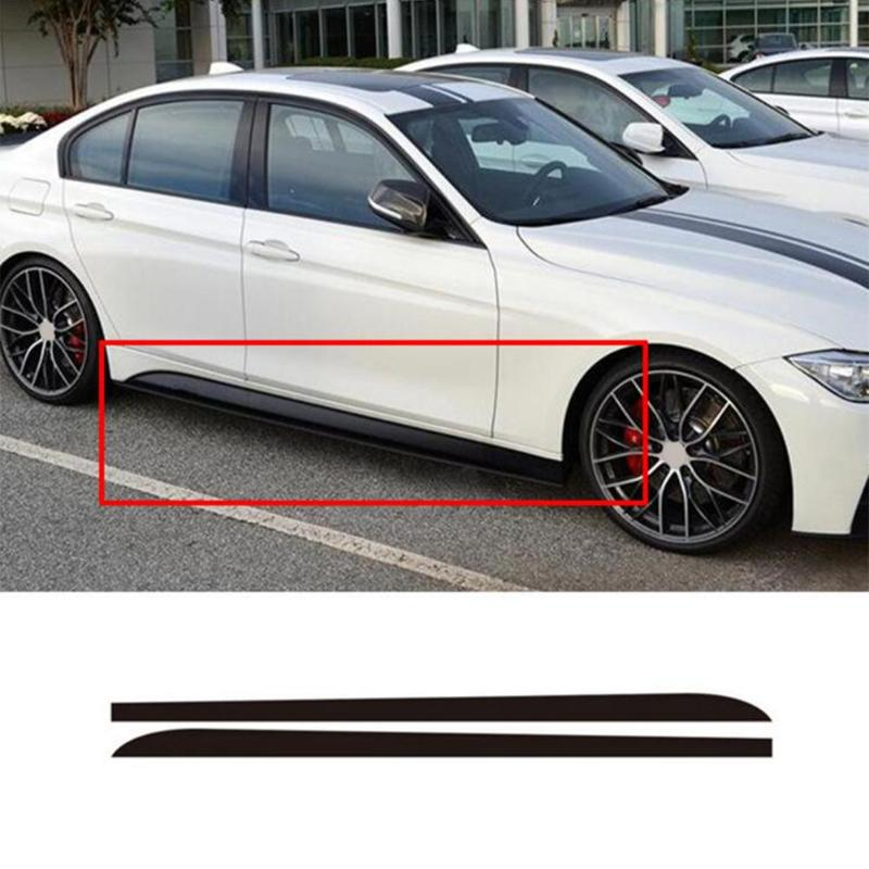 2pcs Car Stickers Black/Carbon Fiber Black Auto Side Skirt Sill Stripe Body Decals  title=