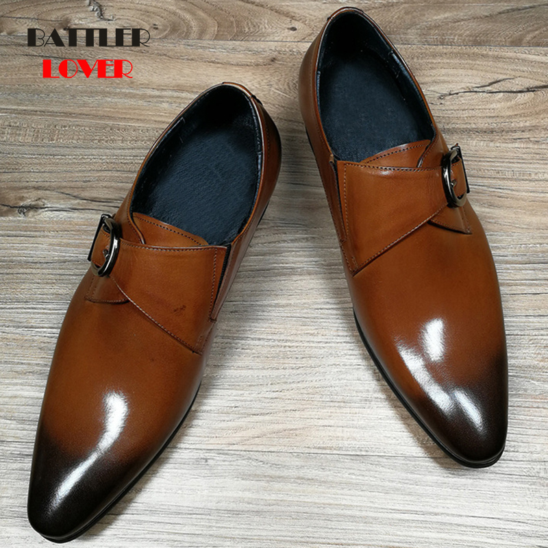 Brand Luxury Genuine Leather Men Oxford Shoes Pointed Toe Mens Dress Shoes With Buckle Male Wedding Shoes Hombre Business Shoe