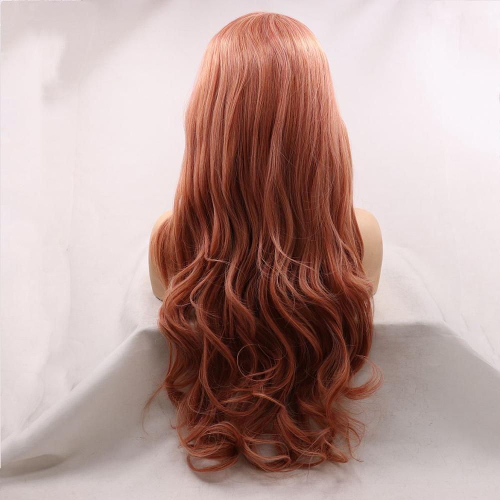 Sylvia Synthetic Red Lace Front Wig Long Body Wave Hair Middle Part Wig For Women Heat Resistant Cosplay Wig Party Natural Daily