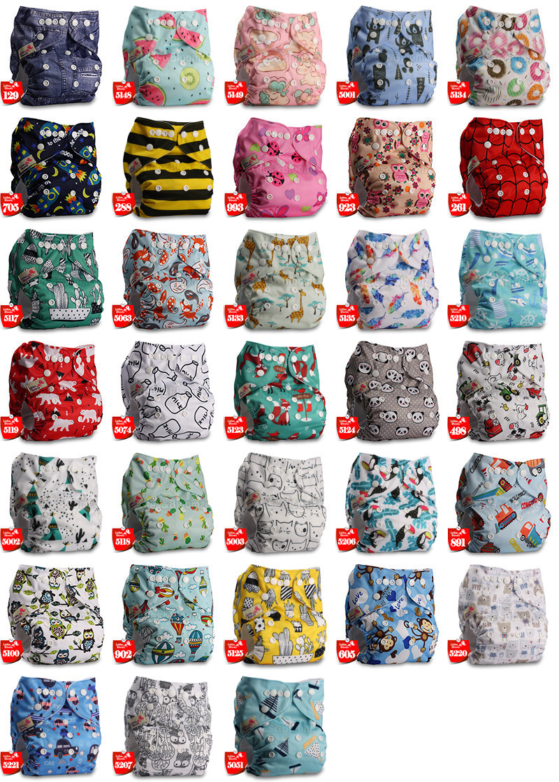 [Littles&Bloomz] Baby Washable Reusable Real Cloth Pocket Nappy Diaper Cover Wrap Suits Birth to Potty One Size Nappy Inserts
