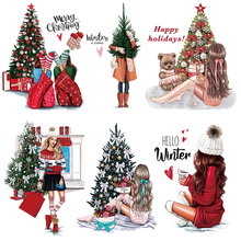 Thermal-Patches Hoodies Transfer Iron Vinyl Christmas Girl Tops Washable Winter