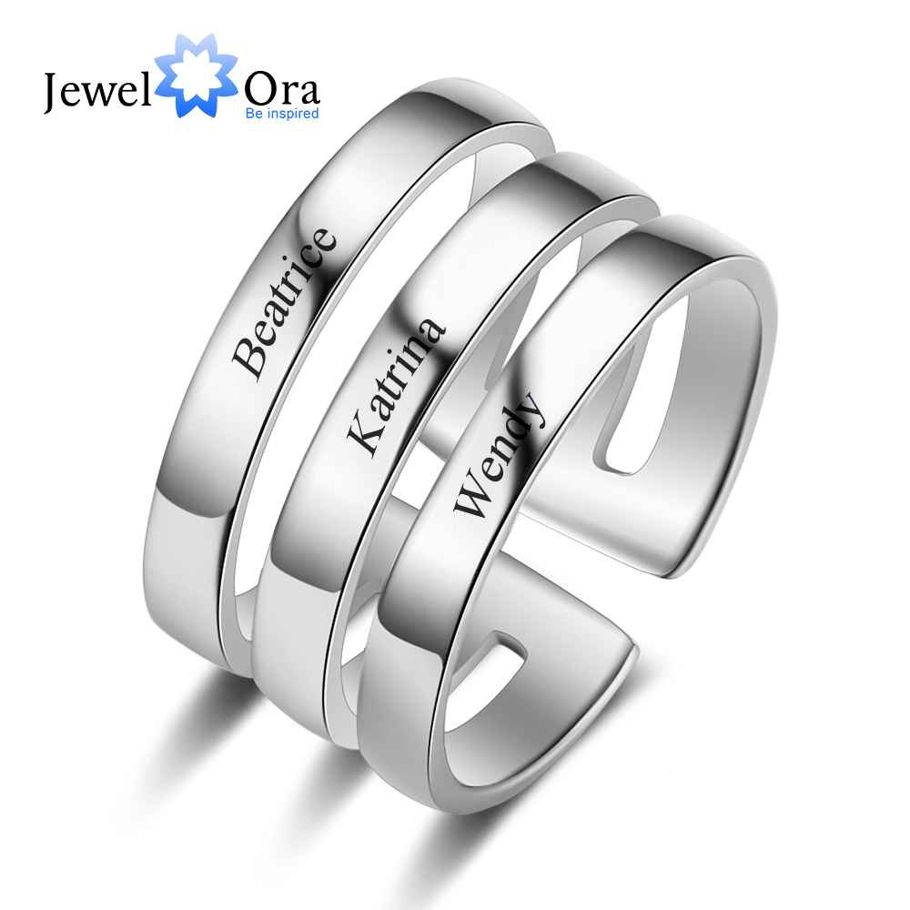 Customized 3 layer Names Ring Personalized 925 Silver Names Promise Rings
