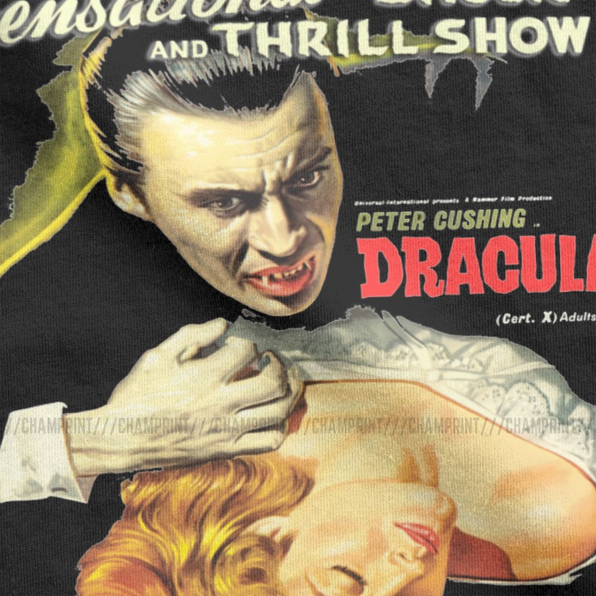 Men's Dracula Original Hammer Poster 1958 T Shirt The Mummy Horror Movie 100% Cotton Tops Vintage Round Collar Tees 6XL T-Shirts