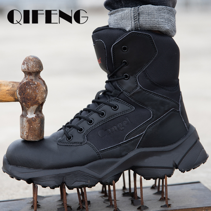 Puncture-Proof Lightweight Men Safety Shoes Steel Toe Boots Leather Work Shoe Fall Anti-smashing Construction Ankle Boots Winter