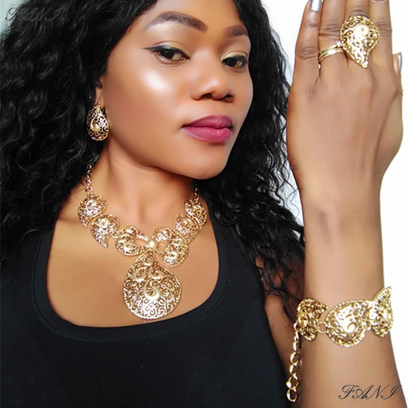 Fani Jewelry-Set Wedding-Accessories Dubai Gold African Beads Nigeria Fashion Women Designer title=