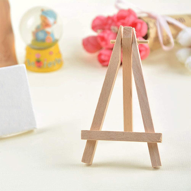 Business Cards Natural Wooden Tripod Holder Stand for Displaying Small Canvases WOWOSS 12 Pack 5 Mini Wood Display Easel Photos