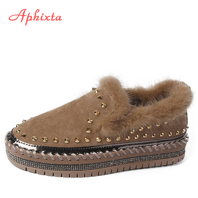 Aphixta Real Mink Fur Shoes Women Flats Luxury Rivets Hand Stitching Winter Shoes Woman Crystals Slip-on Platform Footwear