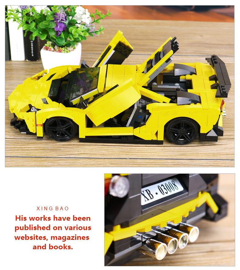 XINGBAO XB-03008 Yellow Lightning Lamborghining Building Block 41