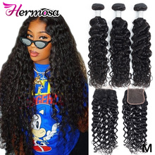Hermosa Water-Wave-Bundles Closure Non-Remy-Hair Brazilian with Middle-Ratio